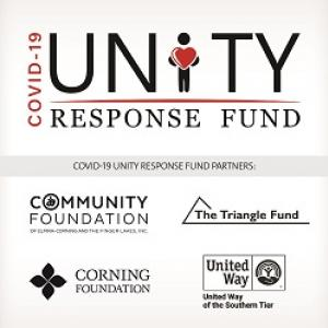 Logo with the words COVID-19 Unity Response Fund. A person holding a heart shape is used in place of the i in Unity.