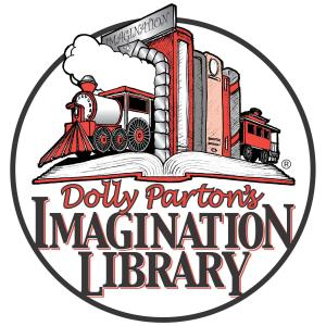 Logo for Dolly Parton's Imagination Library featuring a drawing of a train and a book