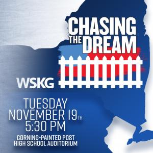 "Words ""Chasing the Dream"" with a white picket fence over a version of the American flag"