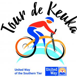 Logo showing a drawing of a bicyclist with the words Tour de Keuka over top of the cyclist and the United Way of the Southern Tier logo underneath