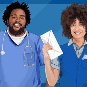 Drawing of a man in blue scrubs with stethoscope and woman holding letter in mail delivery uniform