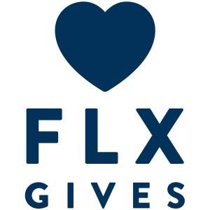 "Logo with a heart icon and words ""FLX Gives"""